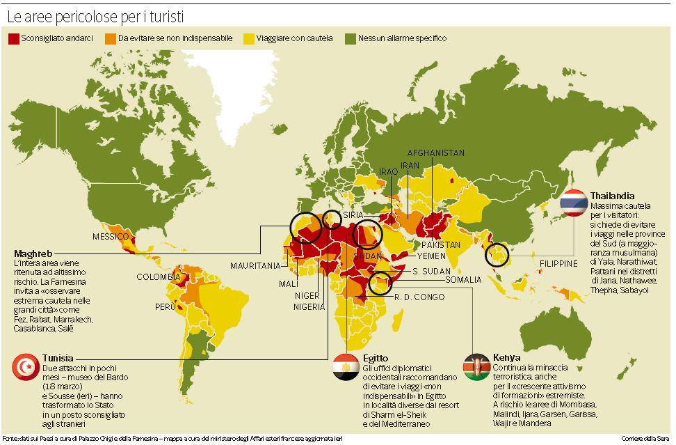 mappa paesi rischio