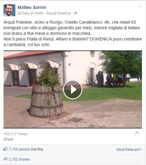 Matteo salvini e la storia dei migranti negli alberghi di for Piani di lusso di una sola storia