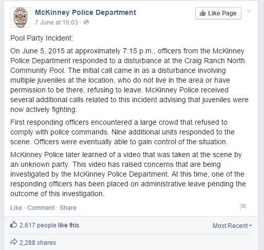 La dichiarazione del Dipartimento di polizia di McKInney (fonte: Facebook.com)