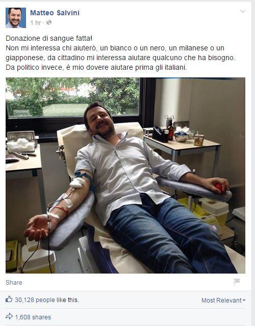 salvini donazione sangue