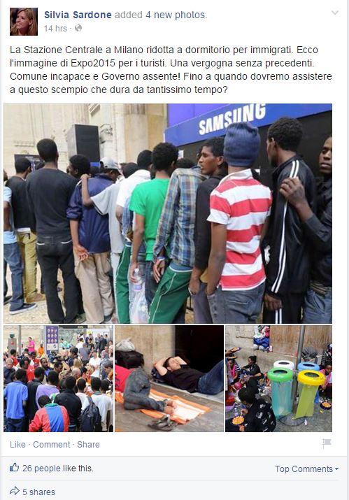 Il post della consigliera comunale di Forza Italia Silvia Sardone sulla situazione dei profughi alla stazione Centrale di Milano (fonte: Facebook.com)