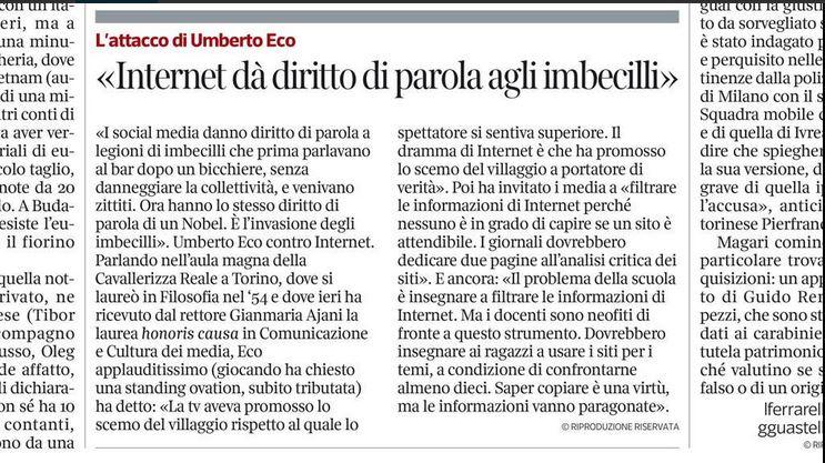 Umberto Eco e il diritto di parola agli imbecilli su Internet (La Stampa via Twitter.com)