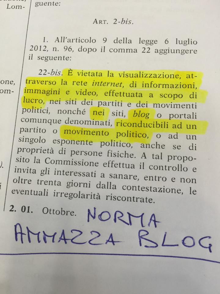 ammazza blog norma legge partiti
