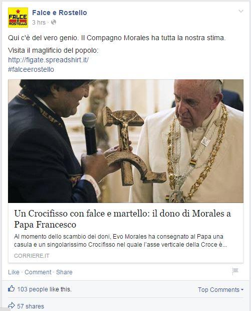 evo morales papa francesco crocefisso falce