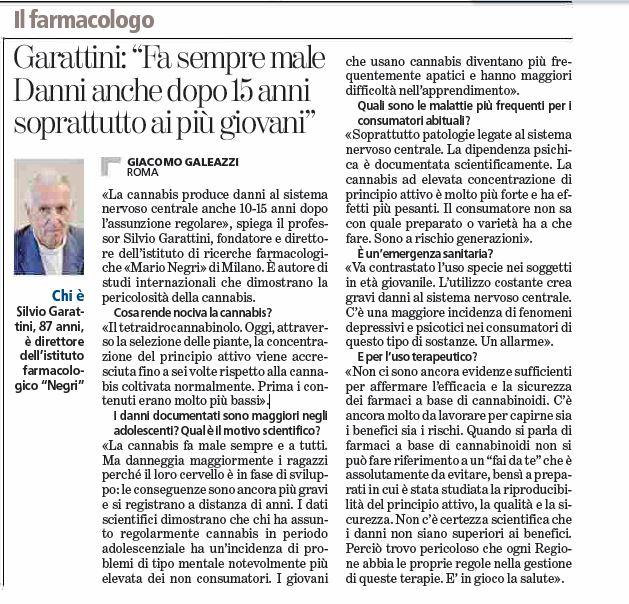 L'intervista a Garattini sulla Stampa di oggi