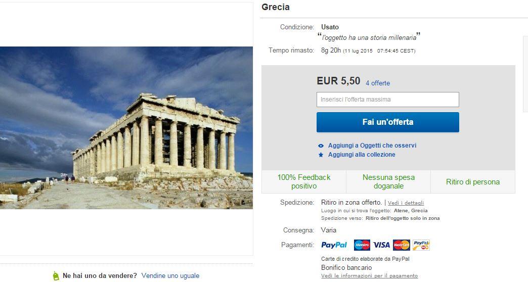 L'annuncio che mette in vendita la Grecia su Ebay