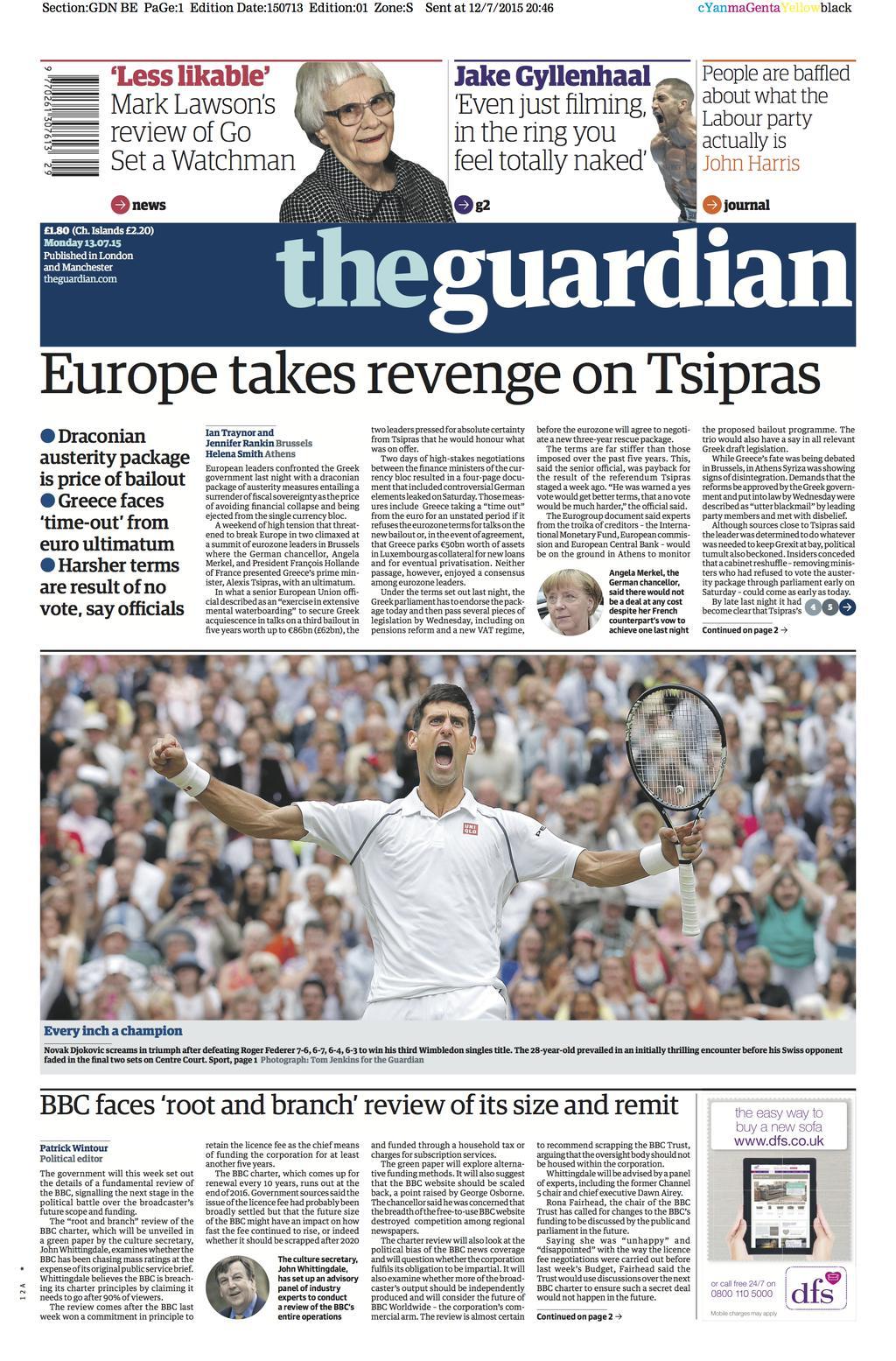 La prima pagina del Guardian di domani