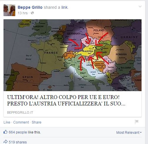 Il post di Grillo su Facebook