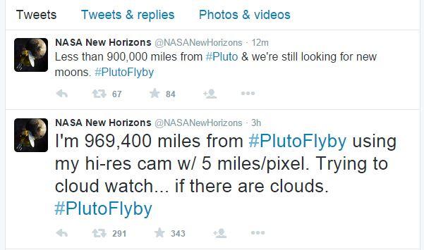 New Horizons è attualmente a 1.448.410 km di distanza da Plutone (fonte: Twitter.com)