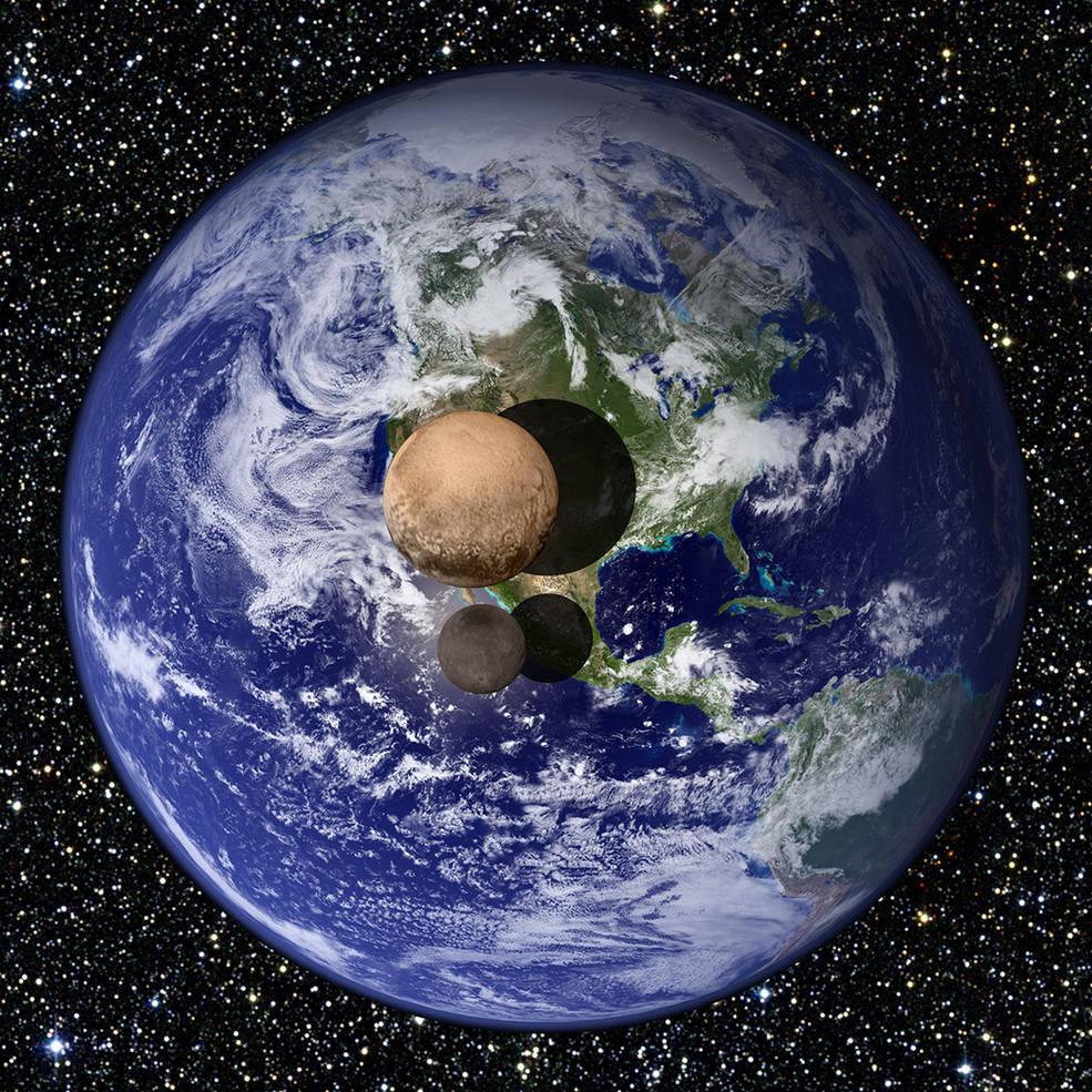 Plutone, la sua luna Caronte e la Terra (http://www.nasa.gov/)