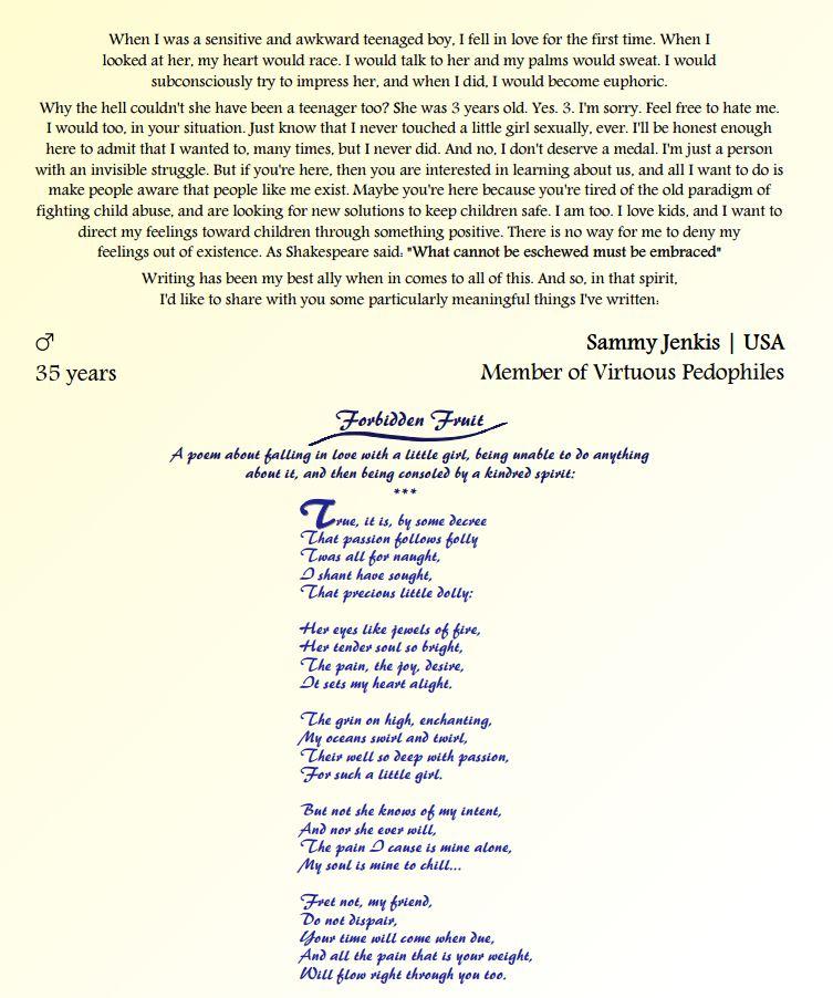 Uno dei componimenti poetici pubblicati sul sito