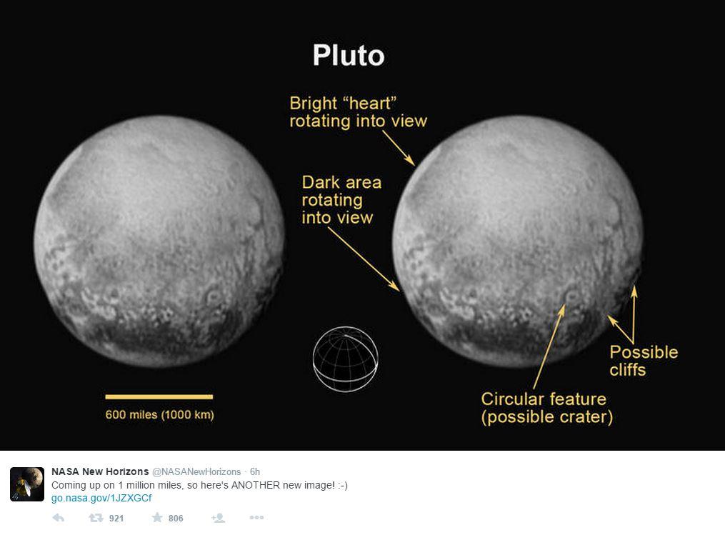 Le prime foto di Plutone scattate da New Horizons (fonte: NASA via Twitter.com)