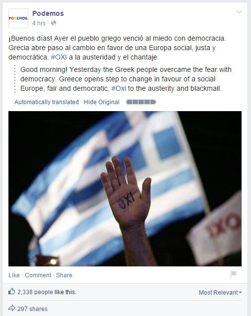 Podemos si congratula con il popolo greco
