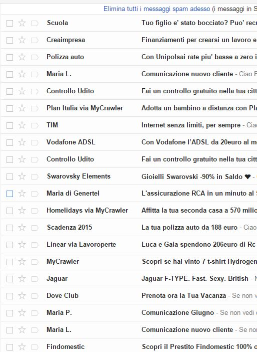 La quotidiana raccolta di spam e tentativi di truffa via mail