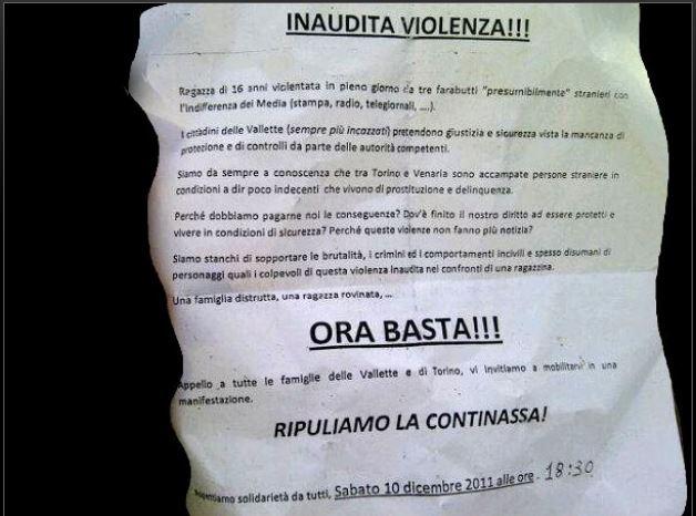 Il volantino che invitava gli abitanti del quartiere a partecipare alla manifestazione di protesta (fonte: torino.repubblica.it)