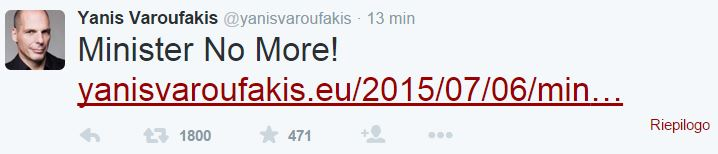 yanis varoufakis si dimette