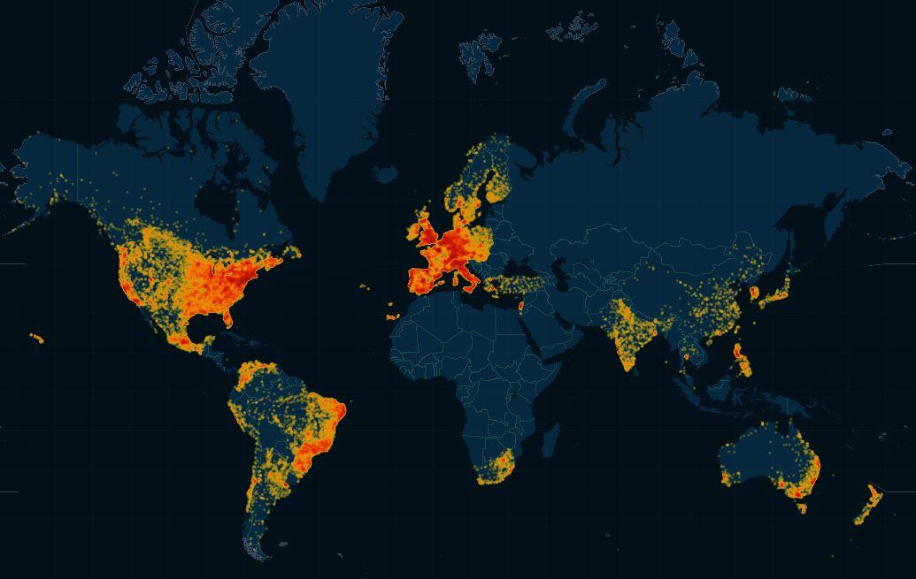 La mappa che mostra la distribuzione degli utenti di Ashley Madison in base al numero di utenti registrati per ogni paese
