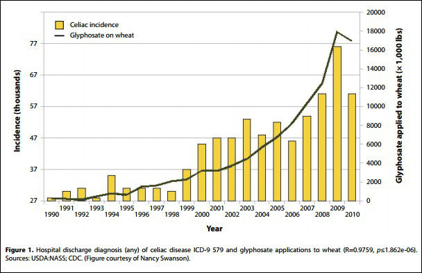 "fonte: ""Glyphosate, pathways to modern diseases II: Celiac sprue and gluten intolerance"""