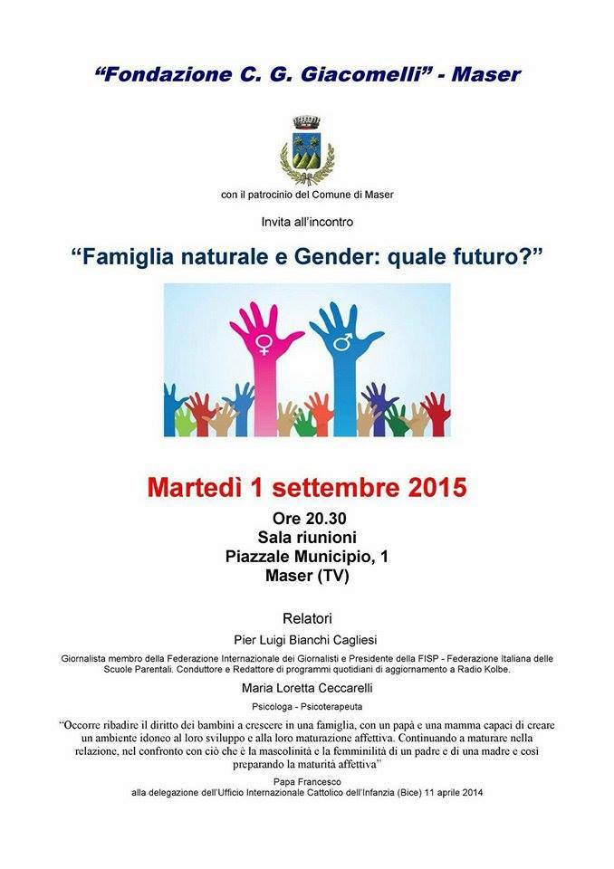 Si moltiplicano gli incontri sul Gender e sull'Home schooling