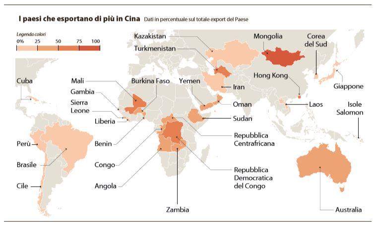 paesi esportano cina