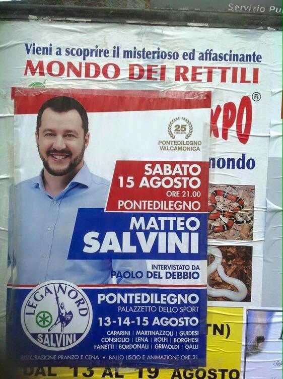 La foto del manifesto di Salvini che circola su Facebook