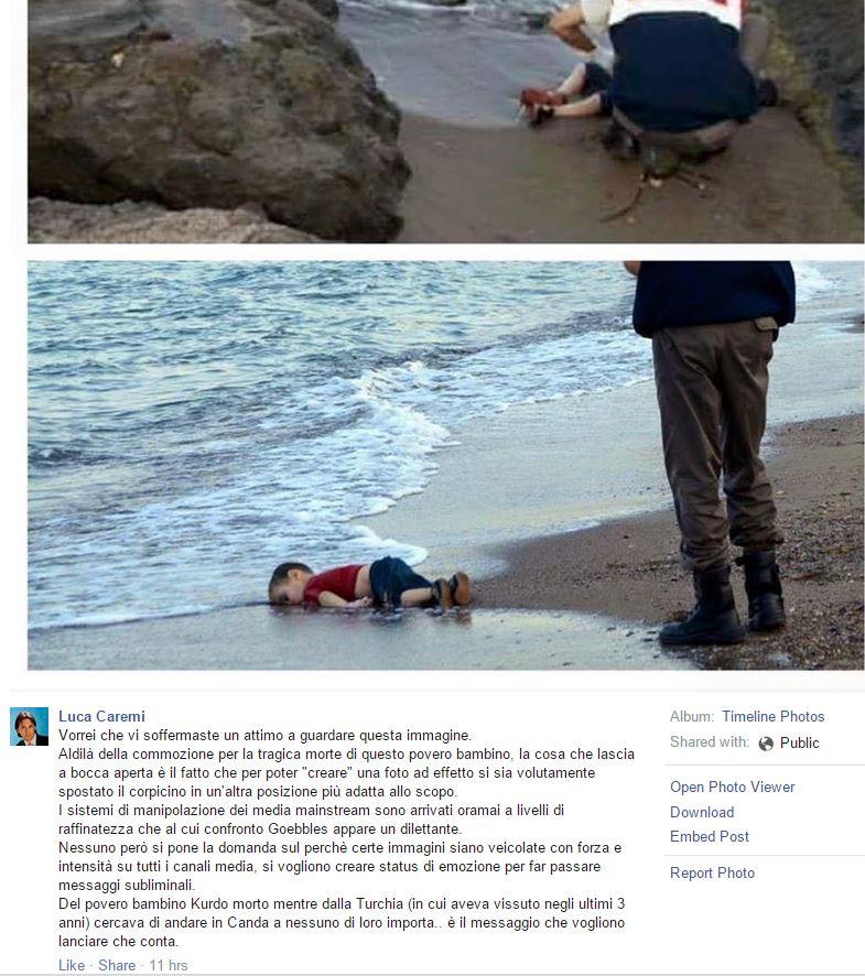 Luca Caremi, su Facebook, indaga la storia della foto