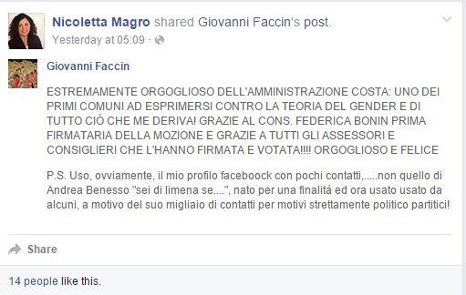 Nicoletta Magro faccin gender