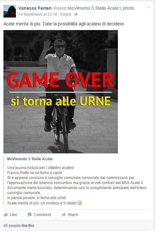 Il post condiviso dalla Ferreri su Facebook