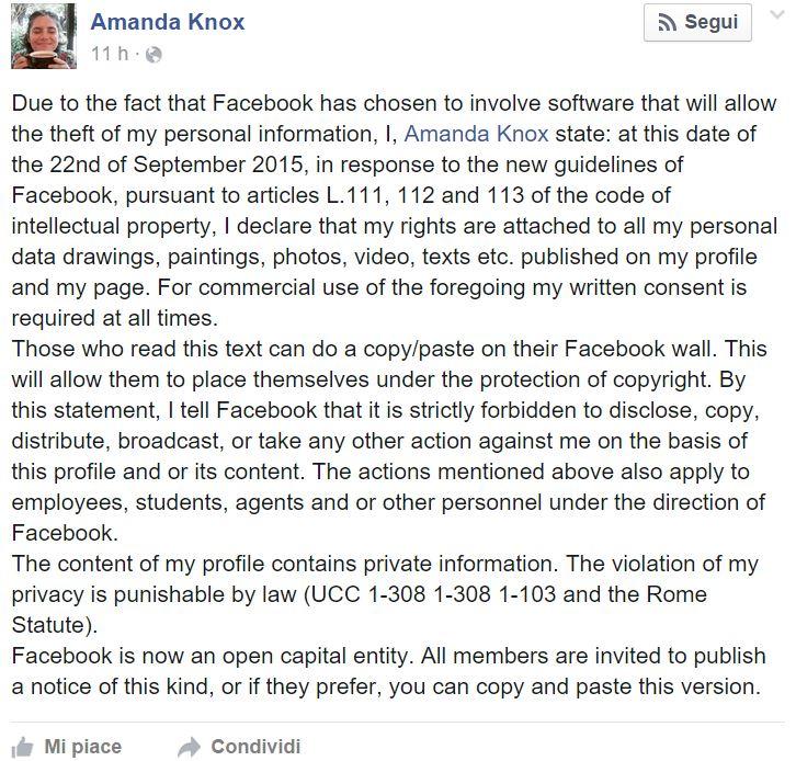 amanda knox messaggio facebook