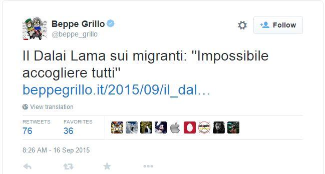 beppe grillo migranti dalai lama