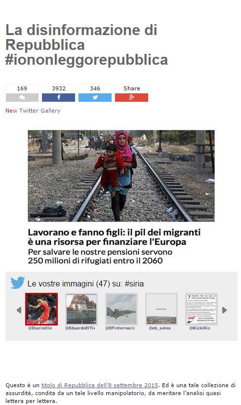 Il post pubblicato ieri da Grillo contro Repubblica e i migranti (fonte: beppegrillo.it)