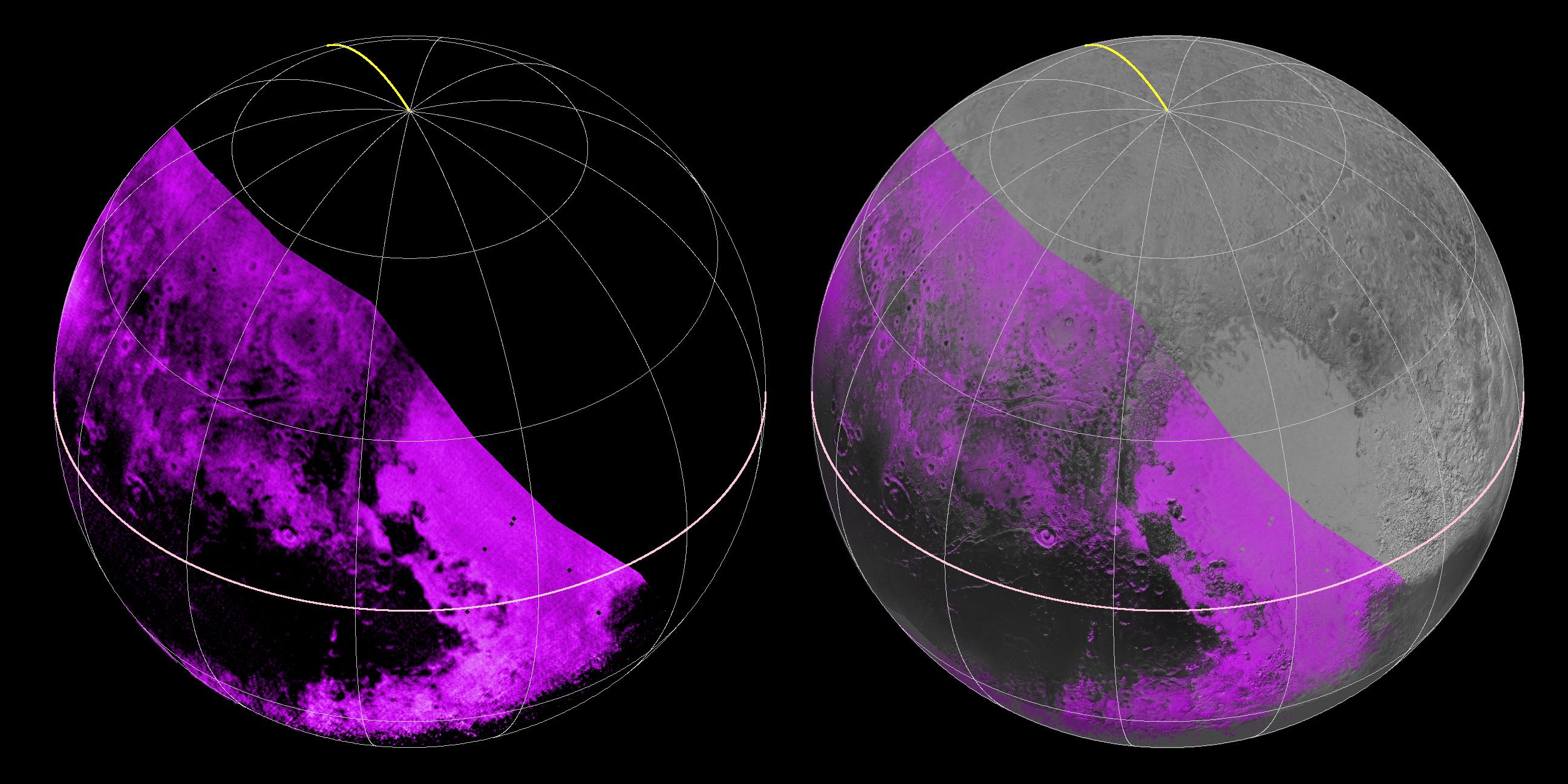 A sinistra le zone in rosa sono quelle dove è stata rilevata la presenza di metano ghiacciato. Più il rosa è acceso maggiore è la concentrazione. Le zone nere invece rivelano una totale assenza di metano. A destra l'immagine spettrografica è stata montata su una foto di Plutone (Credits: NASA/JHUAPL/SWRI)