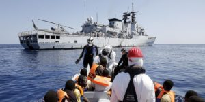 A moment of rescue operations of a boatload of migrants of sub-Saharan origin by the crew of the ship Euro Mediterranean Sea South, 6 September 2014. The migrants were rescued as part of the Mare Nostrum operation that Italy launched after some 400 migrants died in two separate boat disasters in October 2013. Italy is struggling to cope this year with a huge increase in the already big flow of migrants to attempt the hazardous crossing from North Africa. ANSA/ GIUSEPPE LAMI