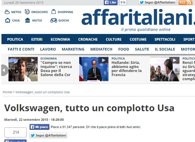 volkswagen complotto usa affaritaliani