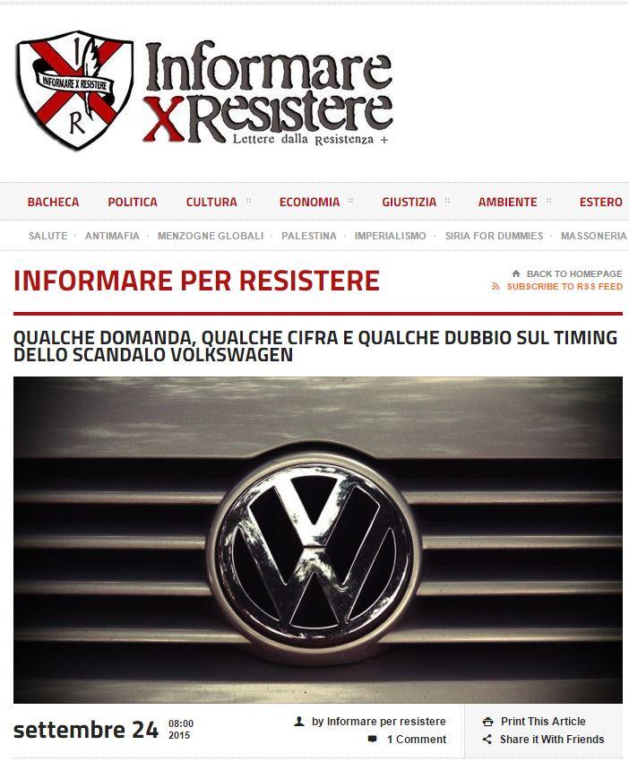 volkswagen complotto usa informare per resistere