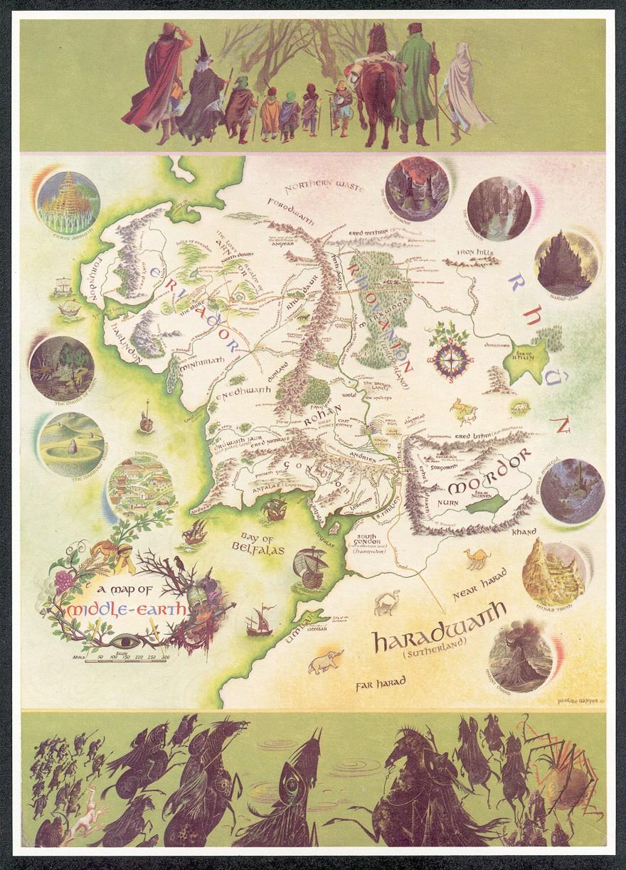 La mappa della Terra di Mezzo disegnata da Pauline Baynes (fonte Wikipedia.org)