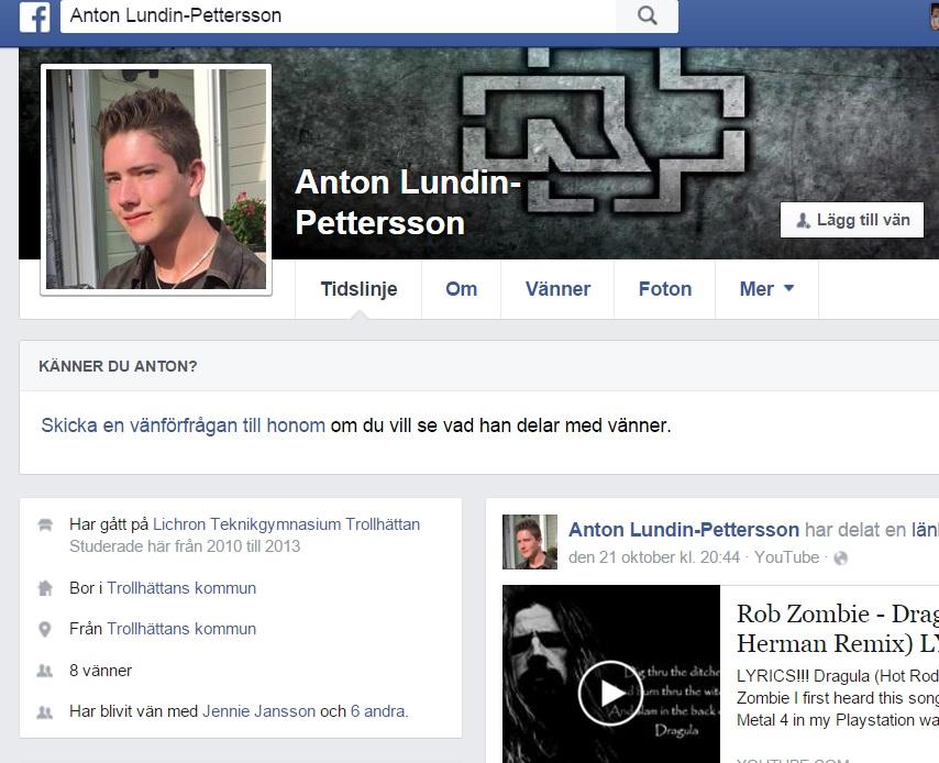 Il presunto attentatore della scuola Kronan di Trollatthan in Svezia