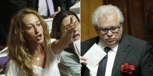 Paola Taverna in Senato durante le votazioni emendamenti del DDL sulle Riforme, Roma 24 Luglio 2014. ANSA/GIUSEPPE LAMI