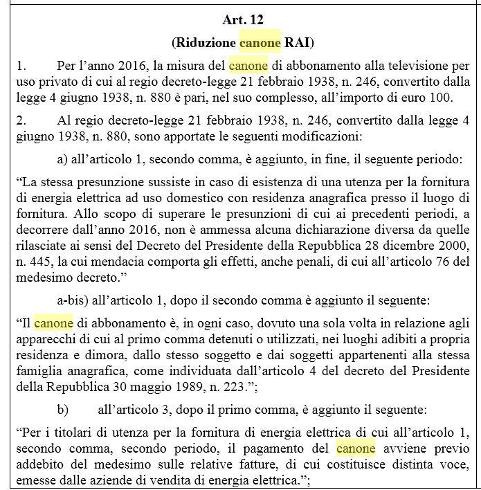 canone rai 500 euro multa