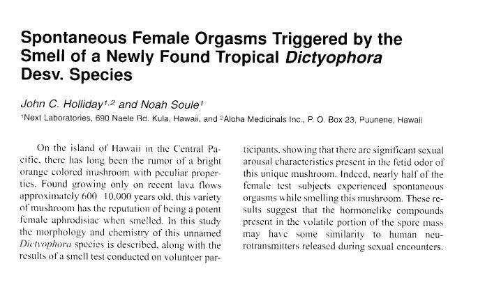 Ecco il testo completo dello studio sul fungo che provoca l'orgasmo se lo annusi