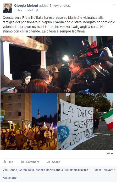 La manifestazione di Fratelli d'Italia a favore di Sicignano