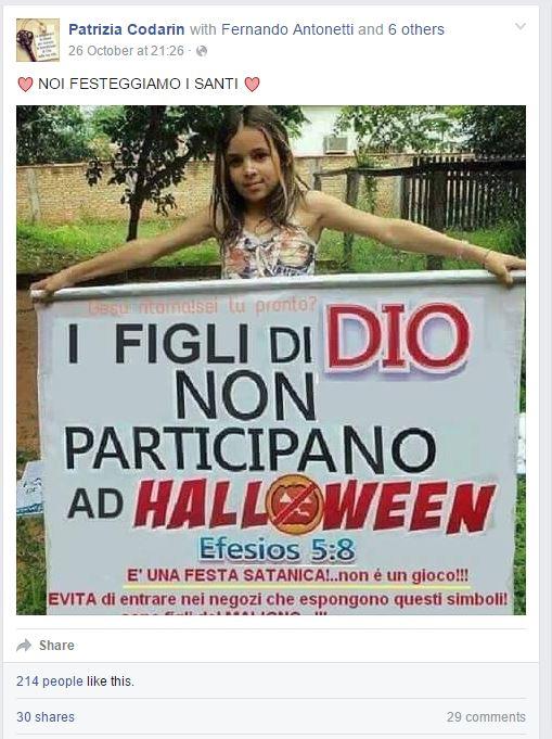 I figli di DIO non partecipano a Halloween (fonte: Facebook.com)