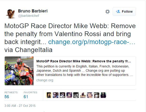 Bruno Barbieri sta con Valentino e aderisce ad inutili mappazzoni online