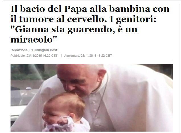 bacio papa tumore bambina - 1