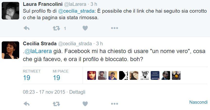 facebook blocca profilo cecilia strada