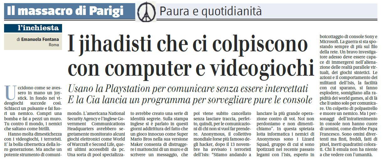 isis attacchi parigi ps4 bufala - giornale