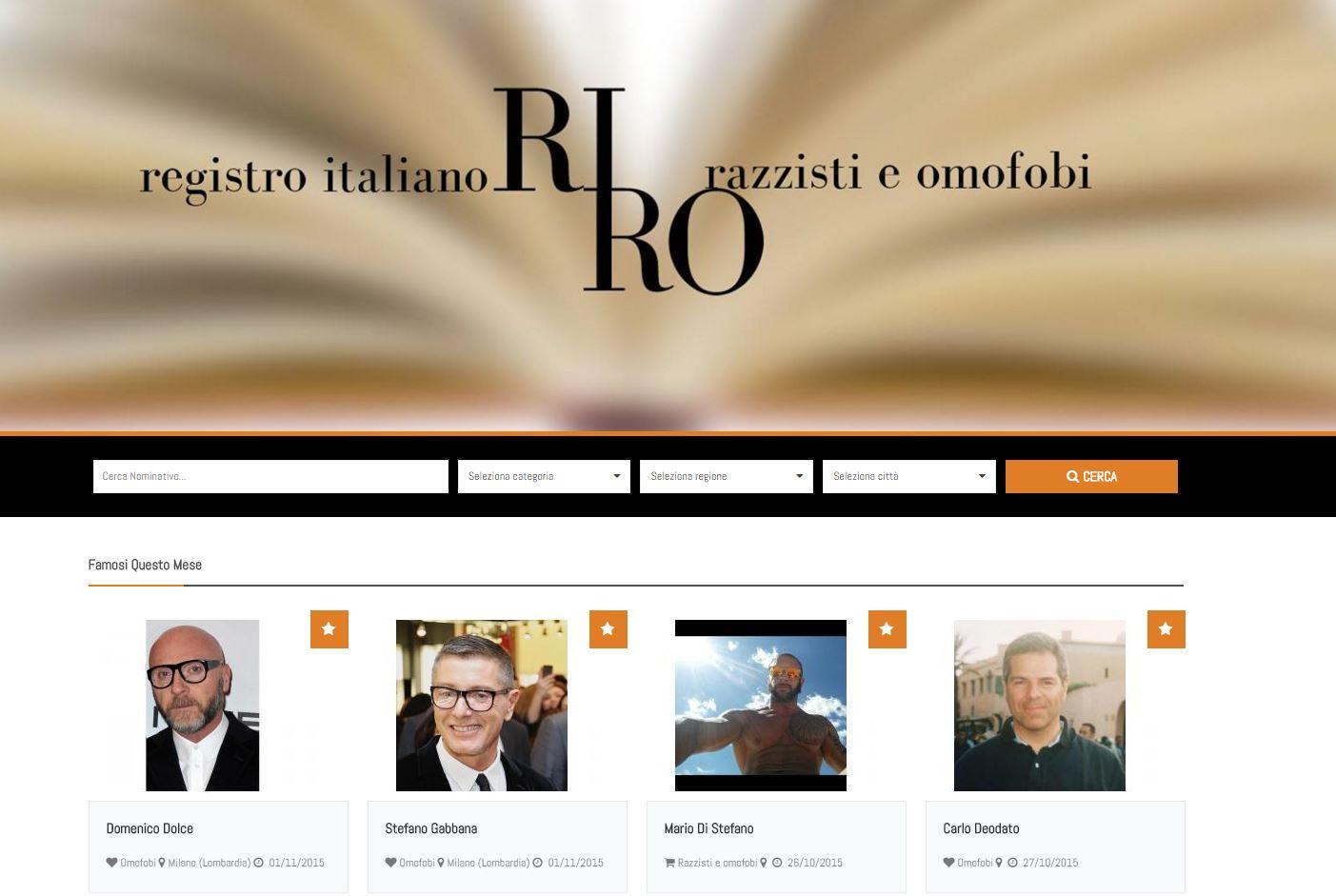 La home page del RIRO, il registro italiani omofobi e razzisti