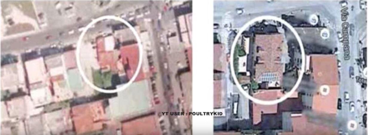 La foto aerea che documenta i lavoro nell'abitazione della sindaco di Quarto Rosa Capuozzo (via Youtube.com)