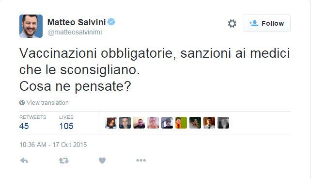 salvini vaccini twitter - 1