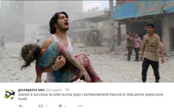 siria bombardamenti francesi vittime foto false